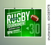 rugby game event flyer poster... | Shutterstock .eps vector #604385978