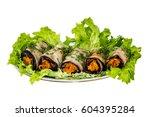 eggplant rolls stuffed with... | Shutterstock . vector #604395284