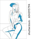 a beautiful sexy woman with a... | Shutterstock .eps vector #604395794