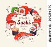 asian food template. vector... | Shutterstock .eps vector #604396970