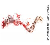 colorful stave with music notes ... | Shutterstock .eps vector #604399688