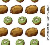 sketched fruits background.... | Shutterstock .eps vector #604403834