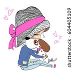 girl | Shutterstock .eps vector #604405109