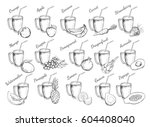 juices collection. vector hand... | Shutterstock .eps vector #604408040