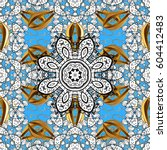 golden pattern on blue... | Shutterstock . vector #604412483