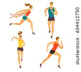 dynamic running people set.... | Shutterstock .eps vector #604412750