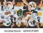 top view of food table ... | Shutterstock . vector #604419389