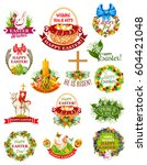 easter holiday label and symbol ... | Shutterstock .eps vector #604421048