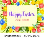 easter spring holiday greeting... | Shutterstock .eps vector #604421078