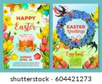 easter egg hunt poster and... | Shutterstock .eps vector #604421273