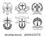 easter icons of crucifix cross... | Shutterstock .eps vector #604422470