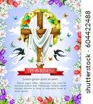 easter cross greeting card wit... | Shutterstock .eps vector #604422488