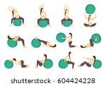 workout for pregnant set.... | Shutterstock . vector #604424228