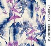exotic flowers seamless pattern.... | Shutterstock . vector #604425524