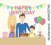 isolated birthday family in the ... | Shutterstock . vector #604425740