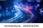 colorful light trace from night ... | Shutterstock . vector #604426334