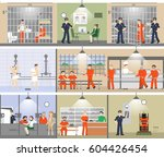 jail interior set. prison room... | Shutterstock .eps vector #604426454
