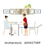 doctor with the patient in the... | Shutterstock .eps vector #604427489