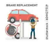 brake replacement on white... | Shutterstock .eps vector #604427519