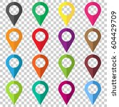 set vector pin icons. location... | Shutterstock .eps vector #604429709