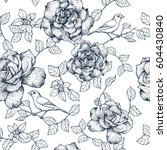 navy roses with leaves and... | Shutterstock . vector #604430840