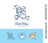tooth fairy logo children's... | Shutterstock .eps vector #604435673