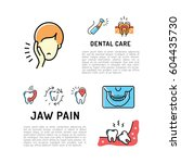 toothache and jaw pain thin... | Shutterstock .eps vector #604435730