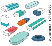 vector set of eraser | Shutterstock .eps vector #604439330