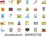 household colored flat icons | Shutterstock .eps vector #604442720