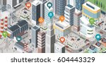 isometric smart city with... | Shutterstock .eps vector #604443329