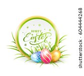 round easter banner with... | Shutterstock .eps vector #604444268