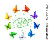 set of multicolored butterflies ... | Shutterstock .eps vector #604444460