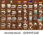 coffee recipes from around the... | Shutterstock .eps vector #604445168