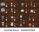 coffee brewing methods using... | Shutterstock .eps vector #604445360
