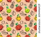 seamless raster pattern. hand... | Shutterstock . vector #604446419