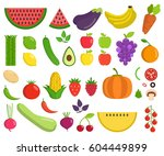 set of fruits and vegetables.... | Shutterstock .eps vector #604449899