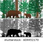 bears on the background of... | Shutterstock .eps vector #604452170