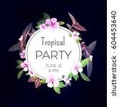 dark vector tropical background ... | Shutterstock .eps vector #604453640