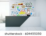 attractive caucasian girl at... | Shutterstock . vector #604455350