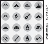 set of 16 editable camping... | Shutterstock . vector #604456574