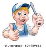 an electrician handyman cartoon ... | Shutterstock . vector #604459658
