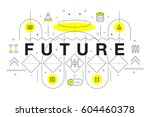 trendy yellow innovation... | Shutterstock .eps vector #604460378