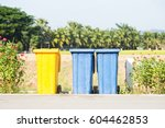 colorful trash on the... | Shutterstock . vector #604462853
