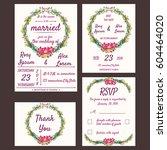 wedding invitation card... | Shutterstock .eps vector #604464020