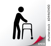 person with walker icon | Shutterstock .eps vector #604465400