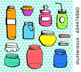 hand drawn contour style jars... | Shutterstock .eps vector #604476860