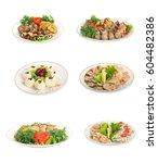 set of festive meals of meat... | Shutterstock . vector #604482386