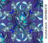 hand drawn floral texture ... | Shutterstock . vector #604486478