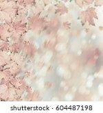 orange autumnal branch of  tree ... | Shutterstock . vector #604487198