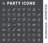 a set of simple outline party... | Shutterstock .eps vector #604487630